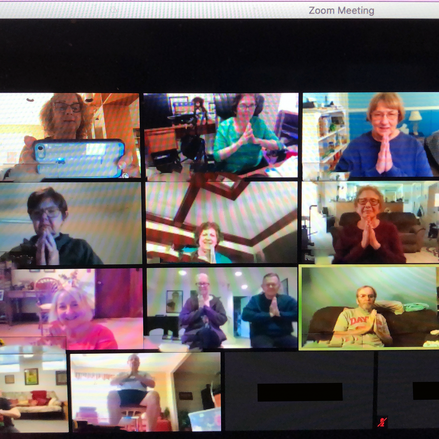 Screenshot of Zoom call exercise class for participants with Parkinson's